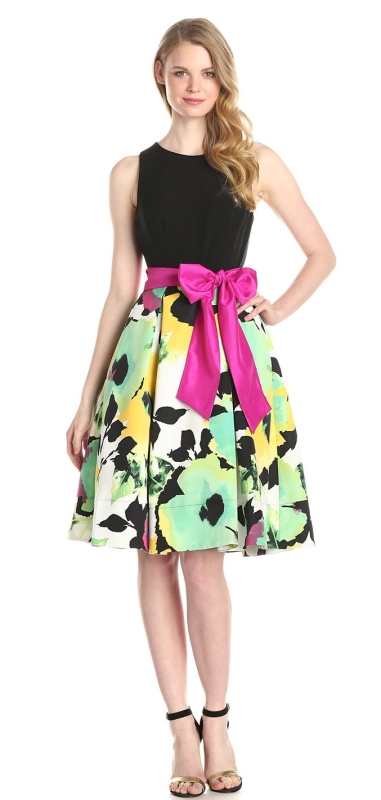 Sleeveless Fit and Flare Printed Dress with Sash