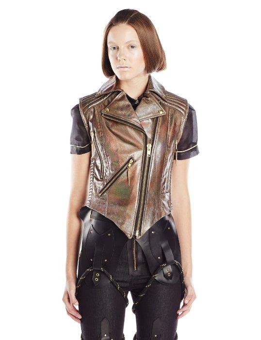 Viktor Luna Women's Hologram Moto Leather Vest with Iridescent Leather