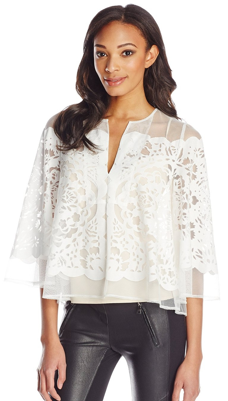 Women's Debi Lace Cape Top with Bell Sleeves