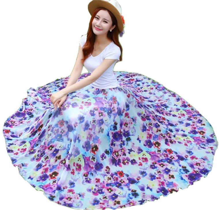 Chiffon Retro Long Maxi Skirt Vintage Dress