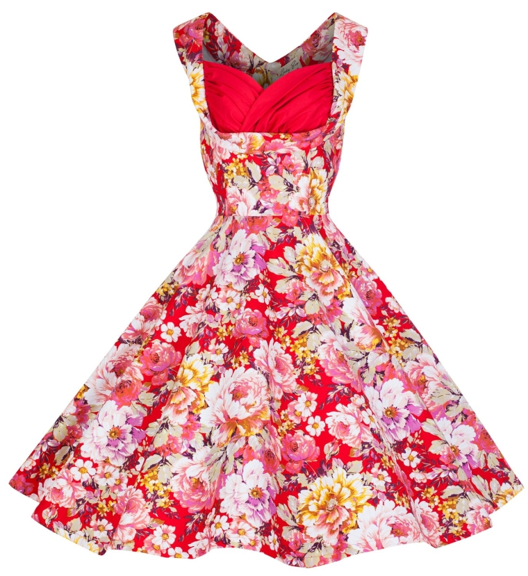 'Ophelia' Vintage 1950's Floral Spring Garden Party Picnic Dress