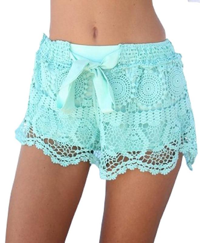 Sexy Elastic Openwork Celeb Lace Crochet Bow Shorts Mira Hot Pants