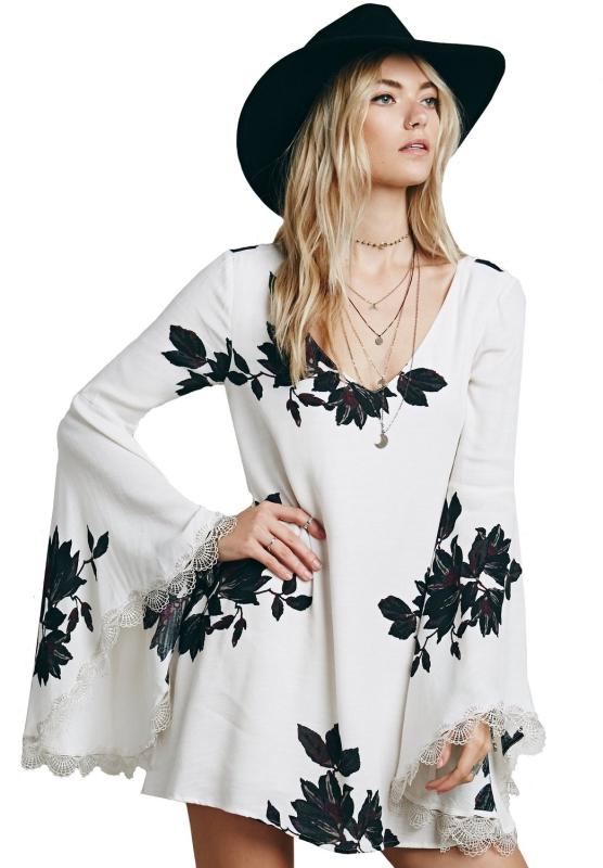 White Backless Leaves Print Long Sleeve Dress