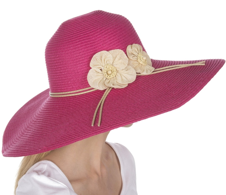 Straw Flower Accent Wide Brim Floppy Hat