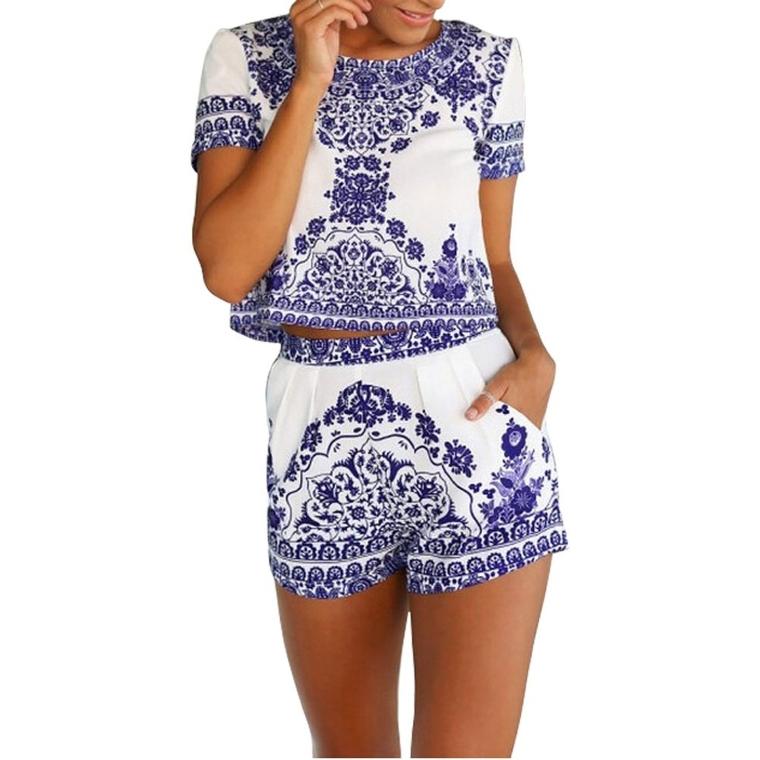 Women Short Sleeve Print 2 Pieces Outfit Crop Top+short Pants Jumpsuit