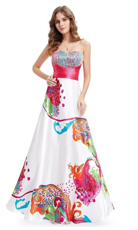 Floral Printed Ruffles Sweetheart Neckline Sequins