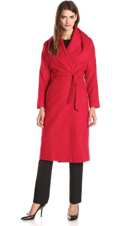 Helene Berman Women's Shawl-Collar Long Wrap Coat