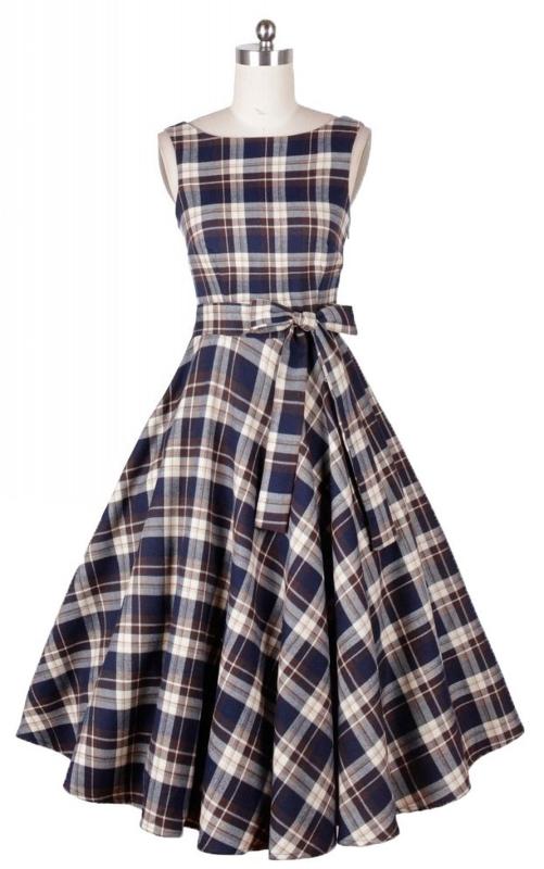 Hepburn Style 50s Hepburn Style Vintage Grid Swing Dress