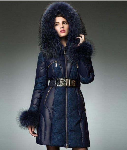 Luxury Lace Combo Zipper Down Jacket with Large Raccoon Fur Trim