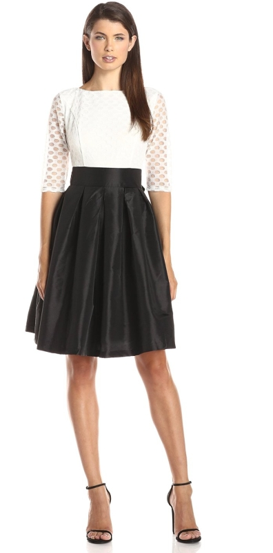 Sleeve Polka Dot Lace Large Pleat Skirt Dress Raluca Fashion
