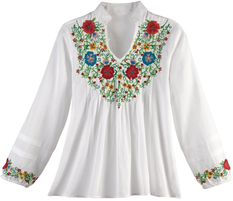 Women's Embroidered Flower Garden Blouse