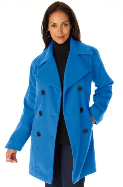 Women's Plus Size Jessica London Petite Wool-Blend Pea Coat ...