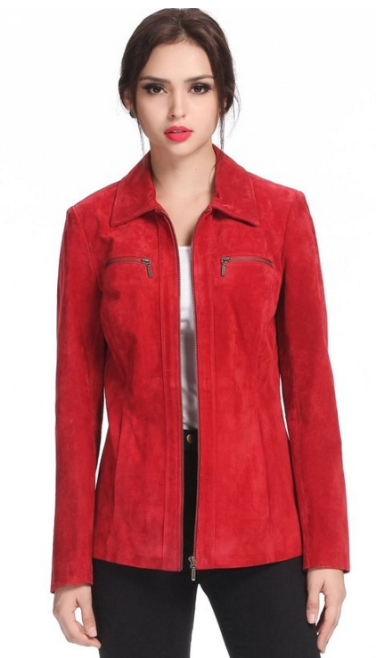 Women S Stacy Zip Front Suede Leather Jacket Raluca Fashion