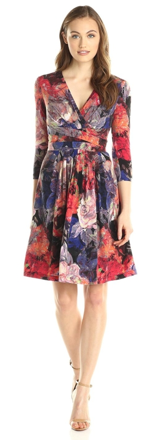 Women's Floral Pleated Fit and Flare Dress