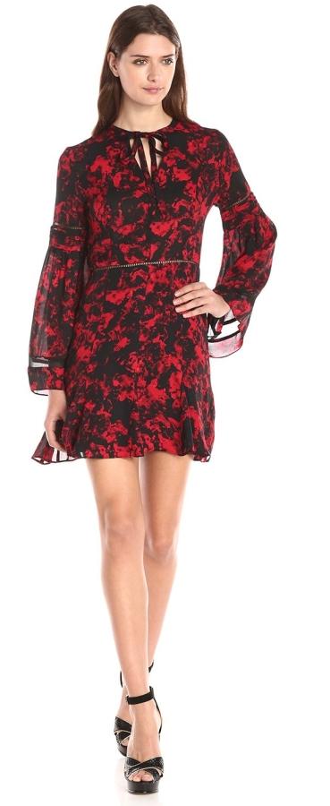 Long-Sleeve Printed Boho Dress