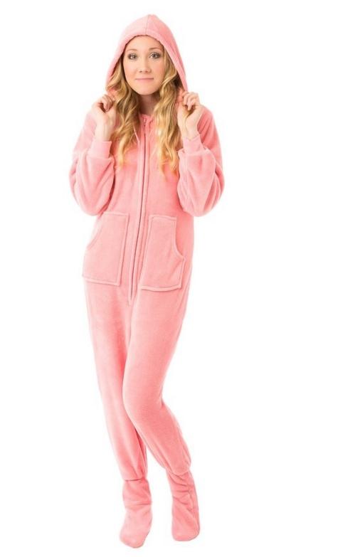 Pink Hoodie Plush Footed Pajamas