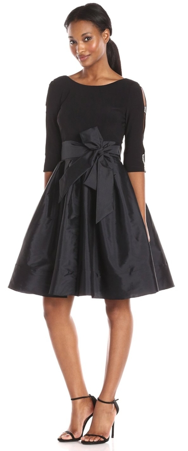 Taffeta Two-Fer Fit and Flare Dress