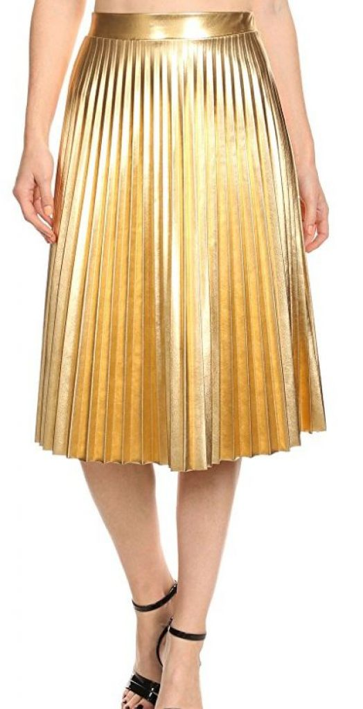 Faux Leather High Waist Pleated Skirt Raluca Fashion