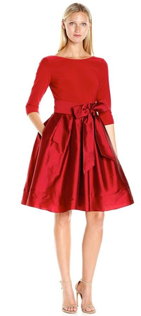 Adrianna Papell Women S Taffeta Two Fer Fit And Flare