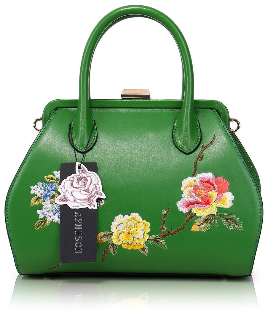 Vintage Embroidery Peony Women's Header Layer Cowhide Handbags