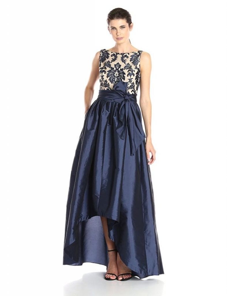 Women S High Low Taffeta Ball Gown With Embroidered Lace