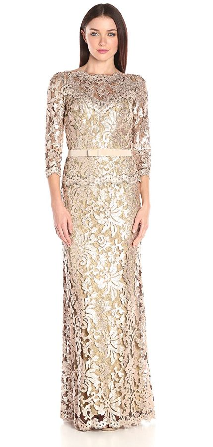 Women's Sequin Embroidered Gown with 3/4 Sleeve and Belt