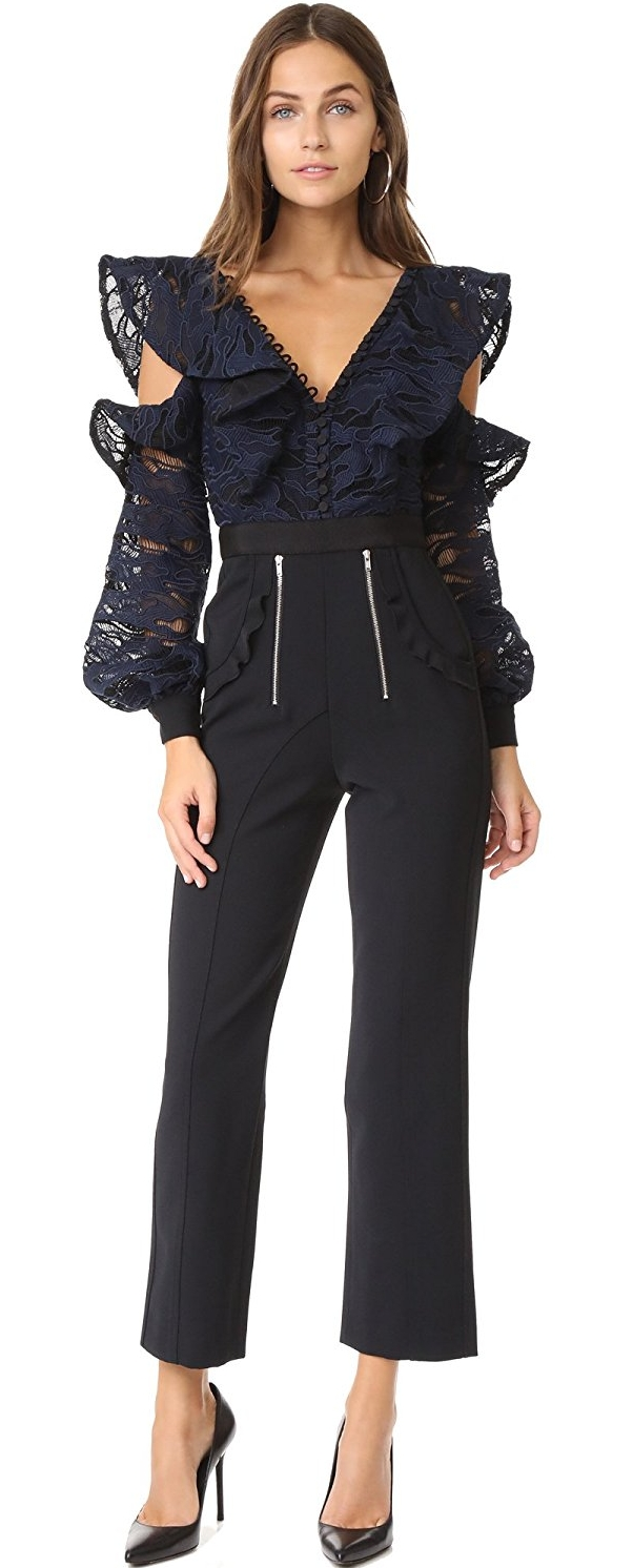 Self Portrait Women's Camo Lace Frill Jumpsuit