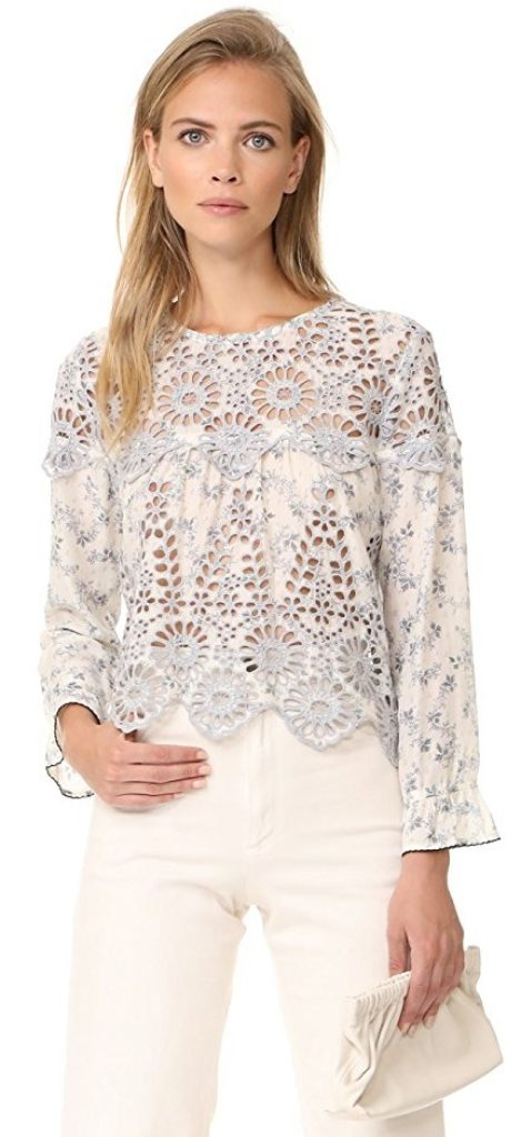 Ganni Women S Emile Lace Top Raluca Fashion