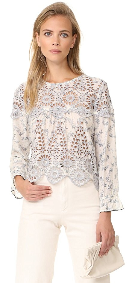 Ganni Women's Emile Lace Top