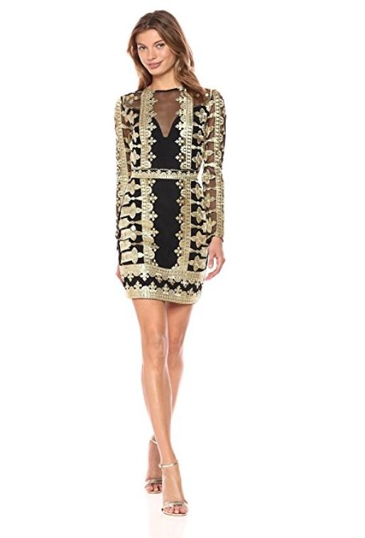 Nicole Miller Women S Crown Emb Mesh Illusion Dress