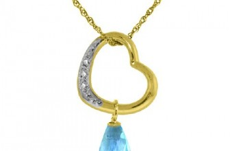 14K Gold Open Heart with Genuine Diamond and Blue Topaz Pendant Necklace
