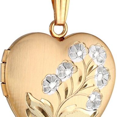 14k Gold-Filled Two-Tone Hand-Engraved Heart