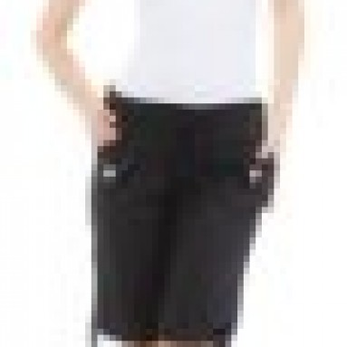 (24220R-Black-L) Classic Designs Juniors Poplin Stretch Bermuda Shorts w/ Elastic Waistband in Black Size: L