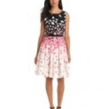 Jessica Howard Women's Sleeveless Belted Floral Dress, Black/Print, 14