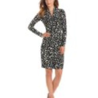 KAMALIKULTURE Women's Long Sleeve Side Draped Dress, Black/OW Oval Dot, X-Small