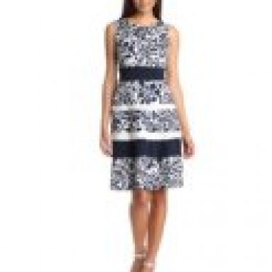 Anne Klein Women's Printed Stripe Dress, Chalk/Navy, 2
