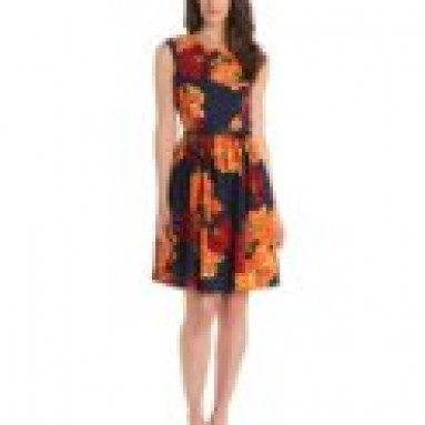 Ellen Tracy Women's Cap Sleeve Printed Kenya Fit and Flare Dress, Twilight Multi, 10