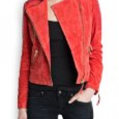 Mango Women's Combi Leather Biker Jacket, Red, Xxs