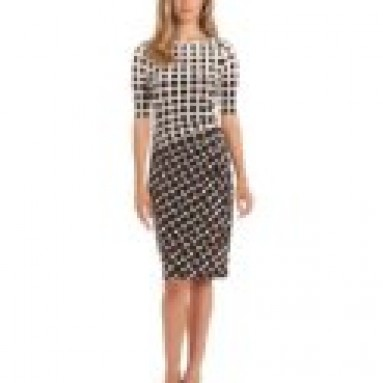 Anne Klein Women's Jersey Dress with Side Pleats, Chocolate/Ivory, 6