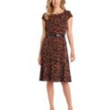 Anne Klein Women's Cap Sleeve Leopard Print Dress, Multi, 10