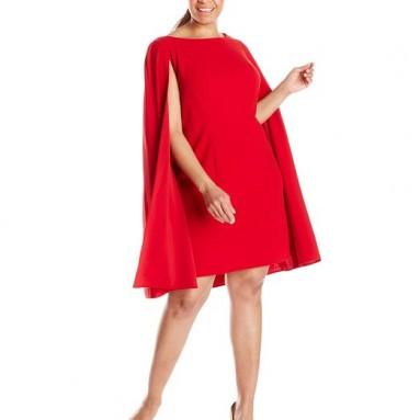 Adrianna Papell Women's Plus-Size Cape Sheath Dress