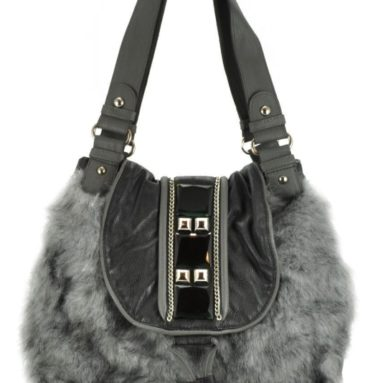 Aisha Grey Faux Fur Hobo Shoulder Bag