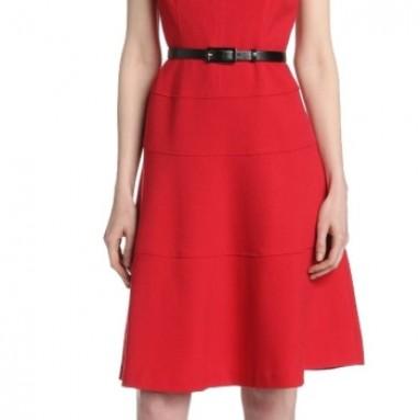 Anne Klein Women's Cap-Sleeve Scoopneck Solid Dress