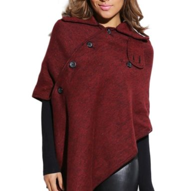 Asymmetrical Button Hooded Cape