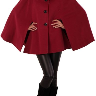 Asymmetrical Collar Wool Blend Cape