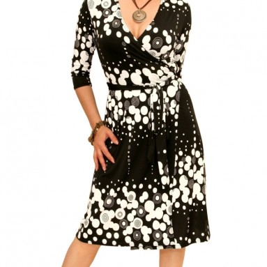 Black and White Patterned Wrap Dress