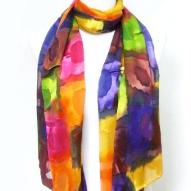Chiffon/Satin Blend Blue/Pink/Gold Rainbow Scarf