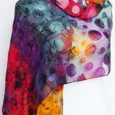 Chiffon/Satin Blend Multicolored Polka Dot Print