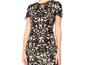 Women's Megan Short Sleeve Sequin Lace Mini Sheath Dress