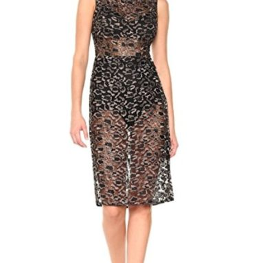 BCBGMax Azria Women's Riley Woven Metallic Illusion Dress